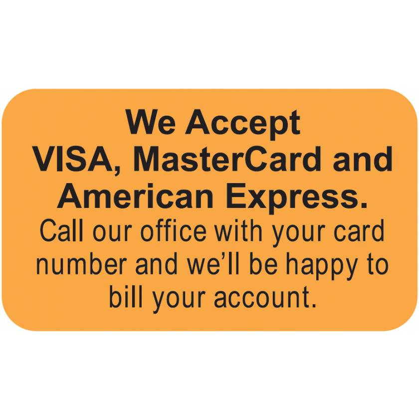 "WE ACCEPT VISA MASTERCARD And AMERICAN EXPRESS Label - Size 1 1/2""W x 7/8""H"