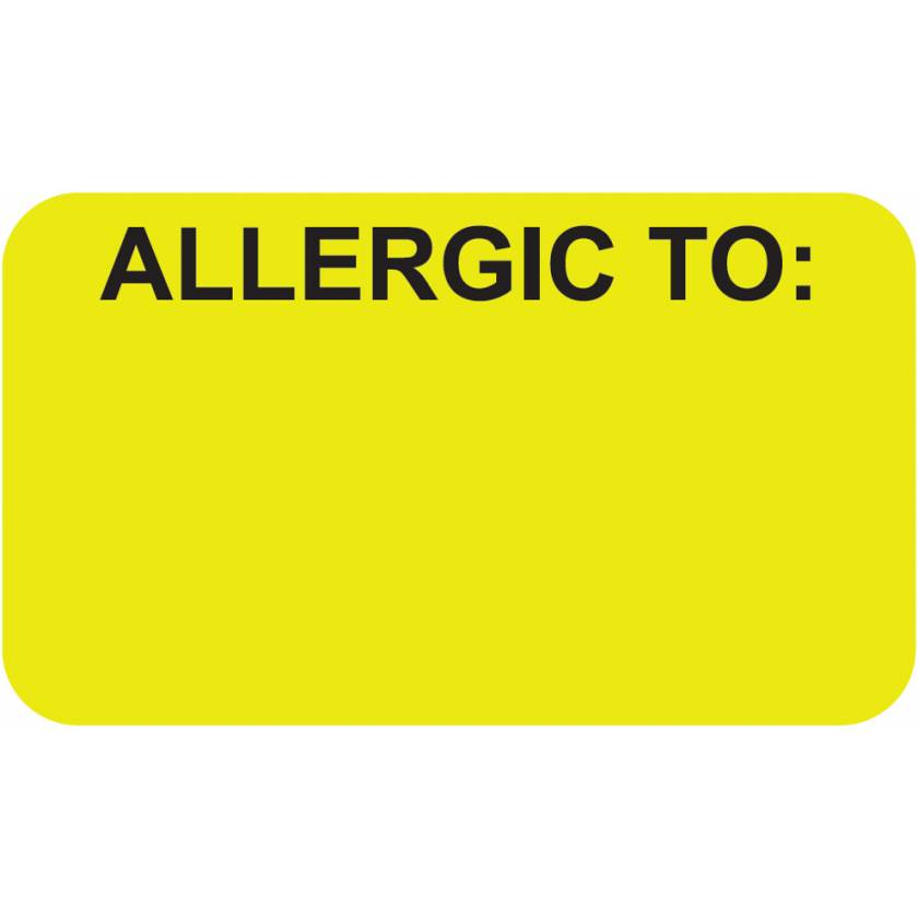 "ALLERGIC TO Label - Size 1 1/2""W x 7/8""H - Fluorescent Chartreuse"