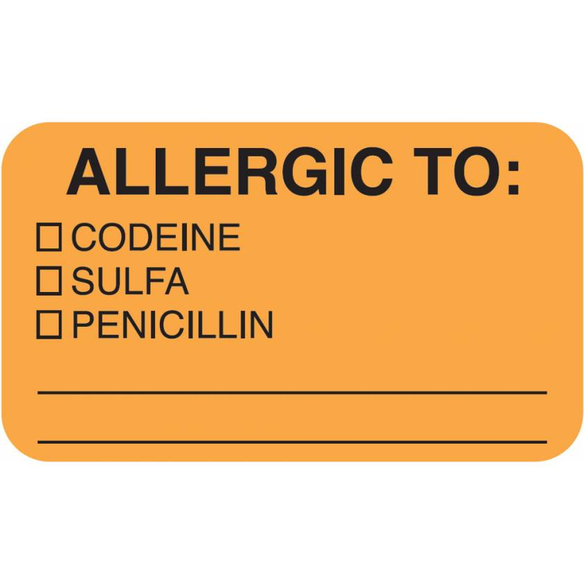 """ALLERGIC TO Label - Size 1 1/2""""W x 7/8""""H"""