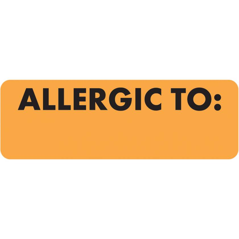 "ALLERGIC TO Label - Size 3""W x 1""H - Fluorescent Orange"