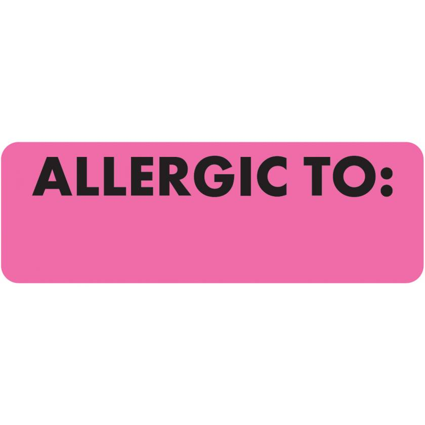 "ALLERGIC TO Label - Size 3""W x 1""H - Fluorescent Pink"