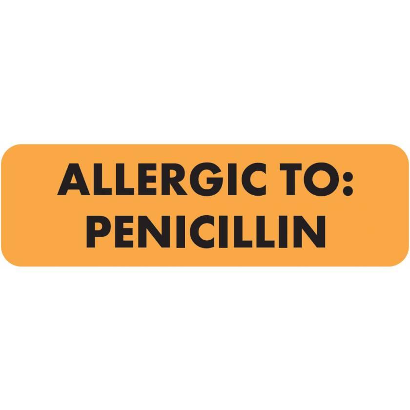 """ALLERGIC TO: PENICILLIN Label - Size 2 1/2""""W x 3/4""""H"""