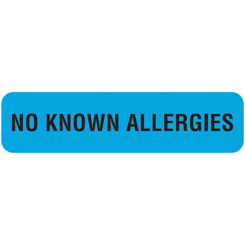 "NO KNOWN ALLERGIES Label - Size 1 1/4""W x 5/16""H"