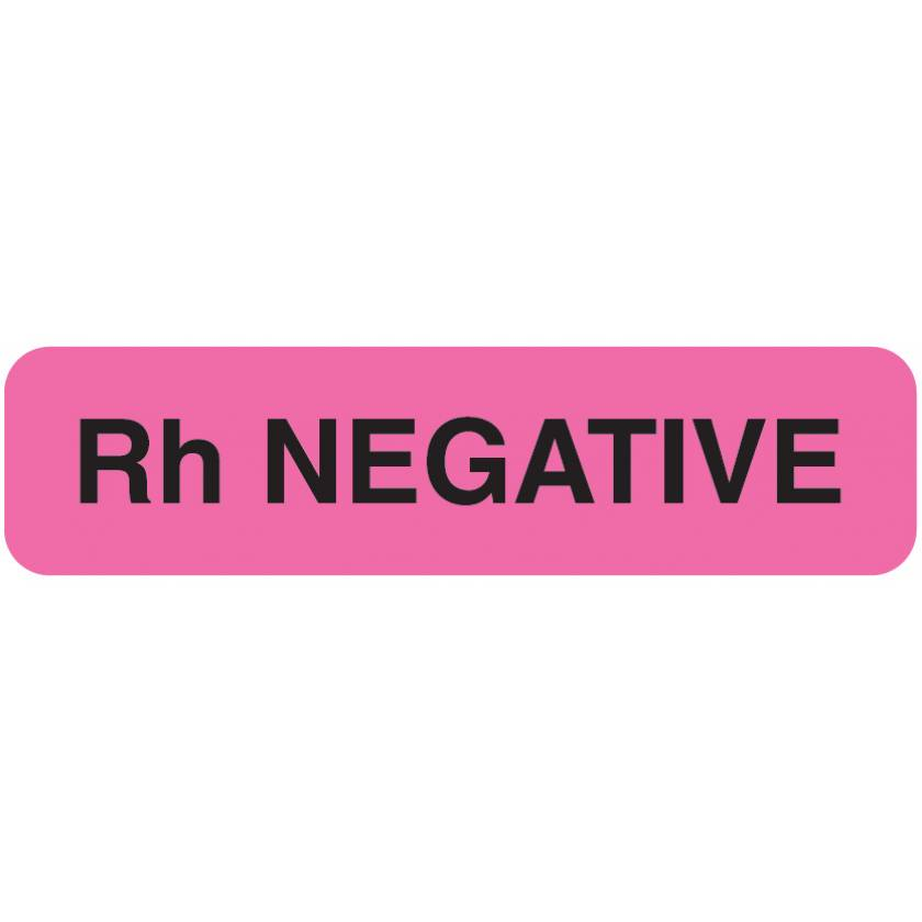 "Rh NEGATIVE Label - Size 1 1/4""W x 5/16""H"