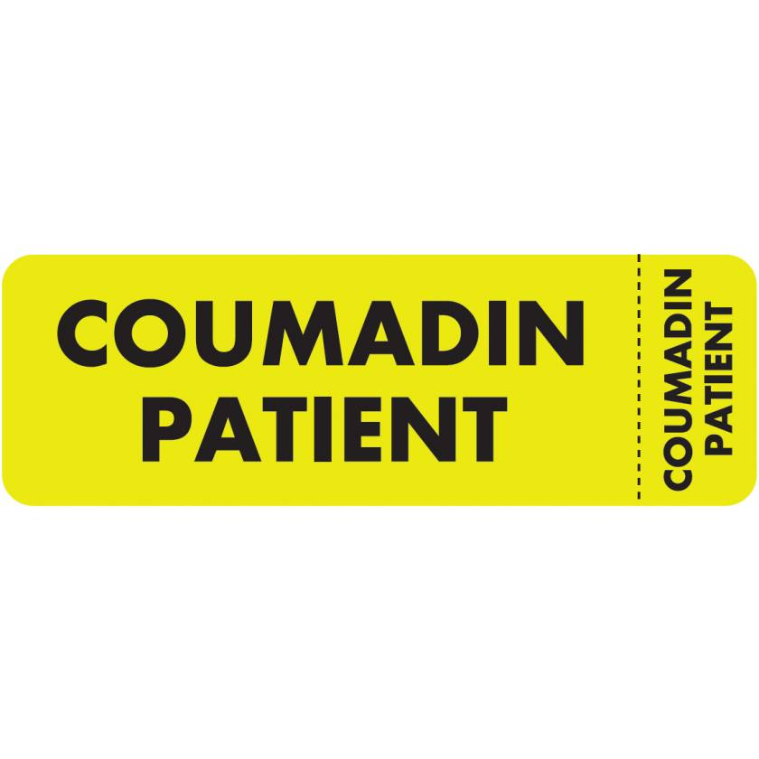 """COUMADIN PATIENT Label - Size 3""""W x 1""""H - Wrap Around Style"""