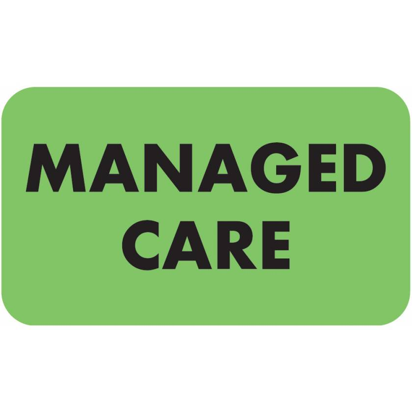"""MANAGED CARE Label - Size 1 1/2""""W x 7/8""""H"""