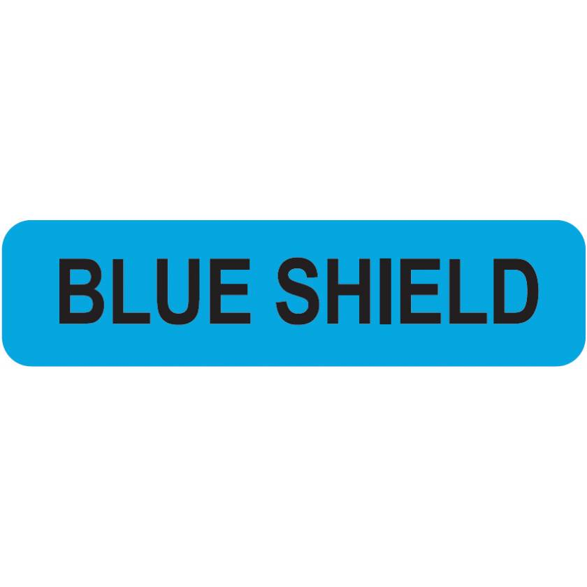 "BLUE SHIELD Label - Size 1 1/4""W x 5/16""H"