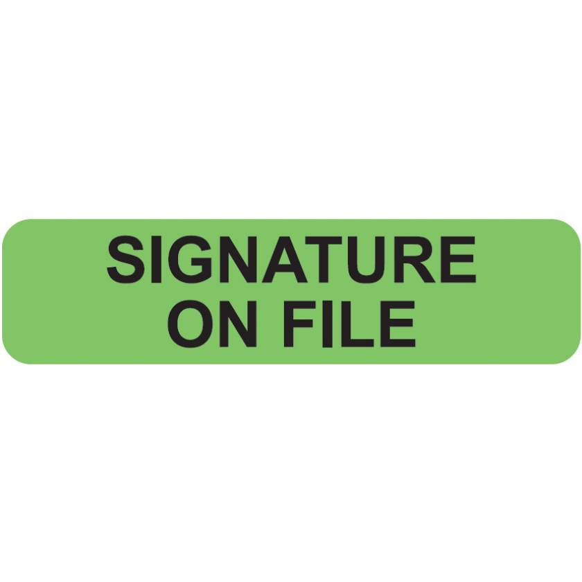"SIGNATURE ON FILE Label - Size 1 1/4""W x 5/16""H"