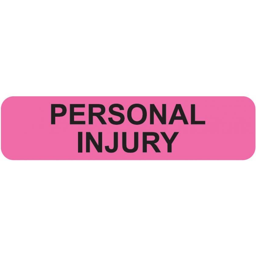 "PERSONAL INJURY Label - Size 1 1/4""W x 5/16""H"