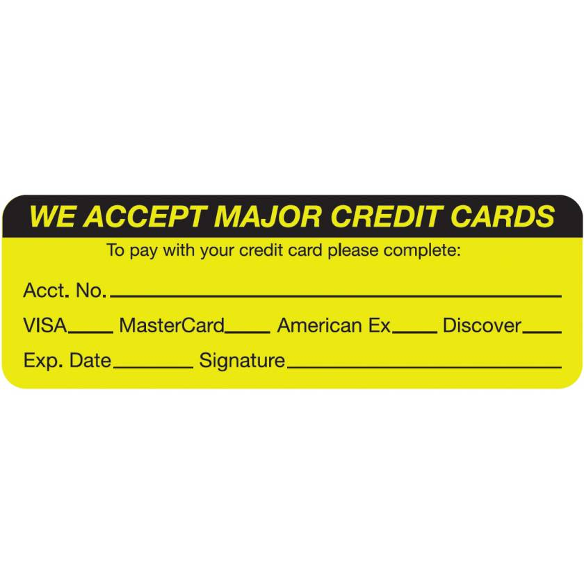 """WE ACCEPT MAJOR CREDIT CARDS Label - Size 3""""W x 1""""H"""