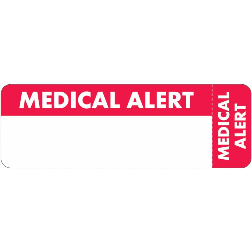 "MEDICAL ALERT Label - Size 3""W x 1""H - Wrap-Around Style"