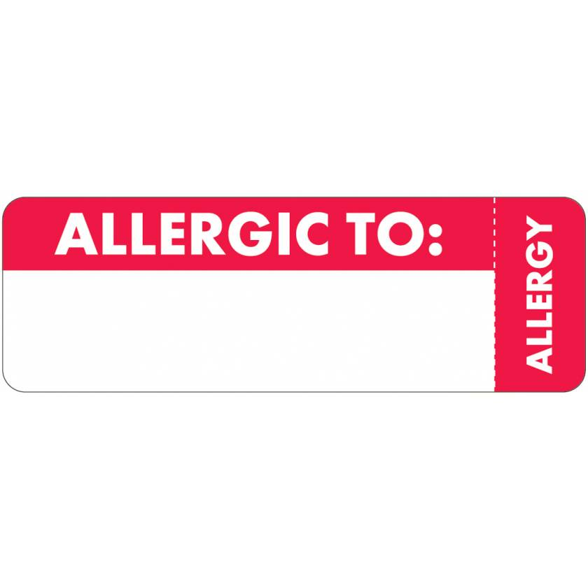 "ALLERGIC TO Label - Size 3""W x 1""H - Wrap-Around Style"