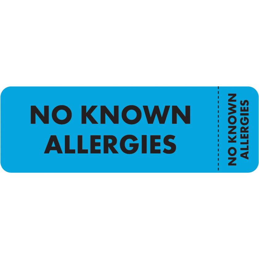 "NO KNOWN ALLERGIES Label - Size 3""W x 1""H - Wrap-Around Style"