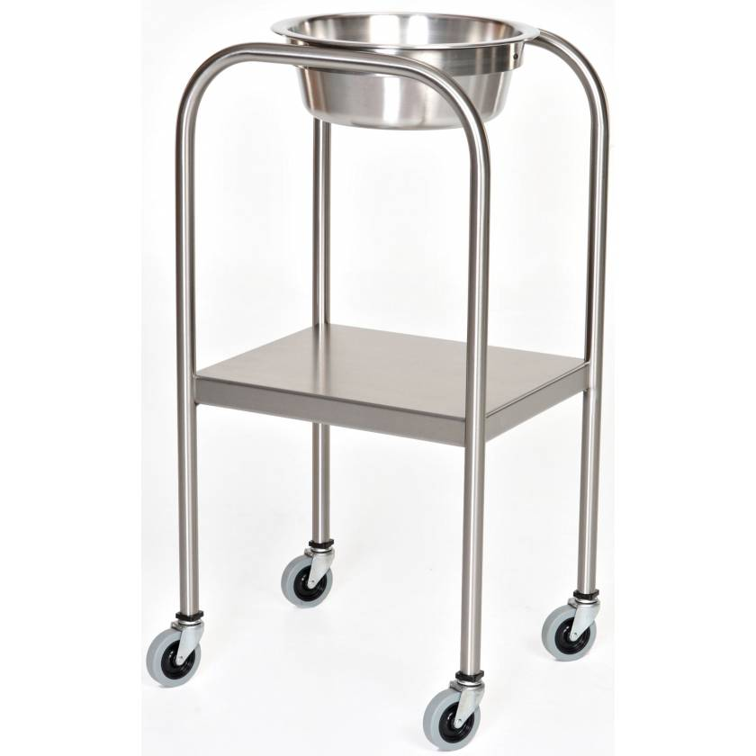Stainless Steel Single Bowl Ring Stand with Lower Shelf
