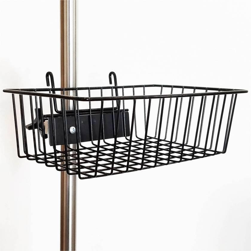 IV pole Black Powder Coated Steel Wire Basket MCM217