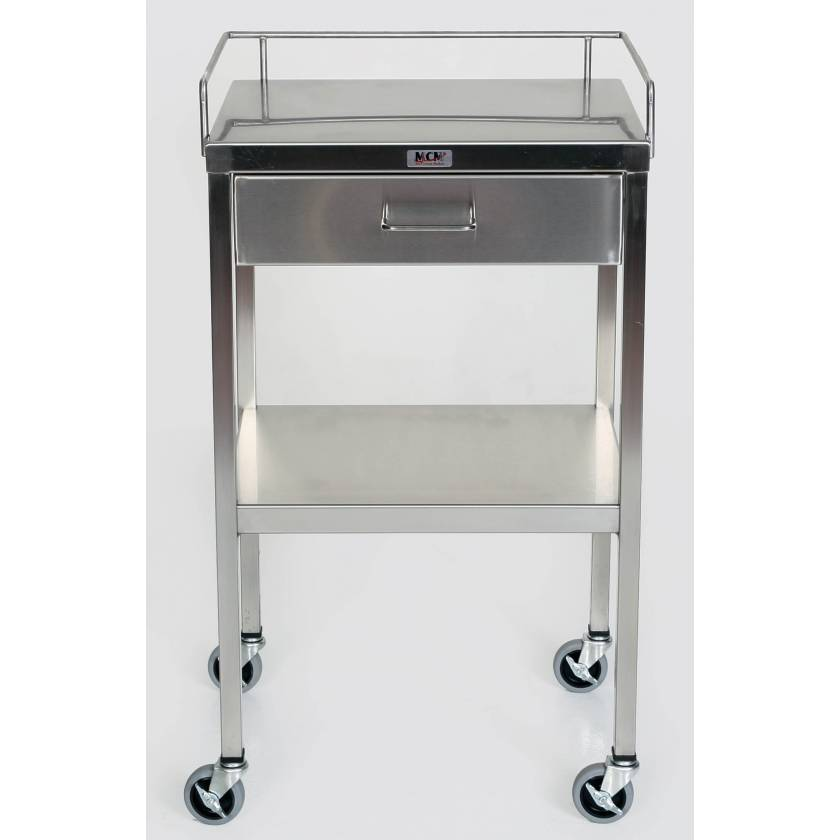 SS Utility Table with 1 Drawer, Lower Shelf and 3-Sided Top-Guardrail