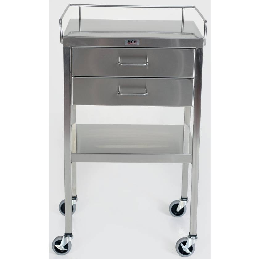 SS Utility Table with 2 Drawers, Lower Shelf and 3-Sided Top-Guardrail