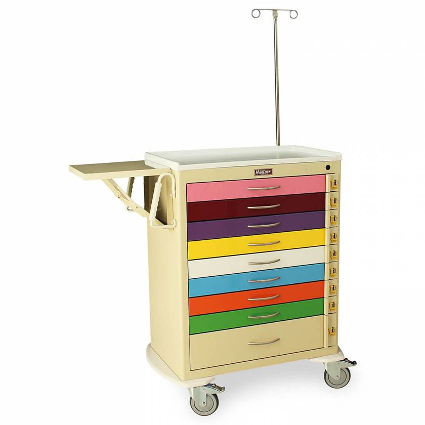 Harloff MDS3030B09PED-EMG M-Series Tall Pediatric Emergency Cart, Standard Width, Nine Drawer with Individual Breakaway Locks, EMG Accessory Package
