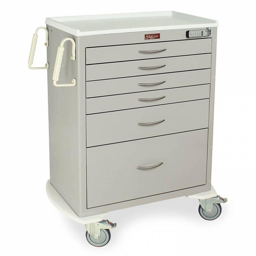 Harloff MDS3030E16 M-Series Standard Width Tall Procedure Cart Six Drawers with Basic Electronic Pushbutton Lock