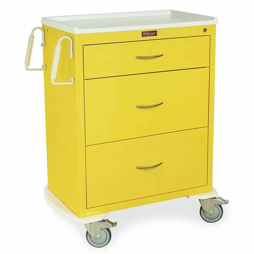 Harloff MDS3030K03 M-Series Standard Width Tall Isolation Cart Three Drawers with Key Lock