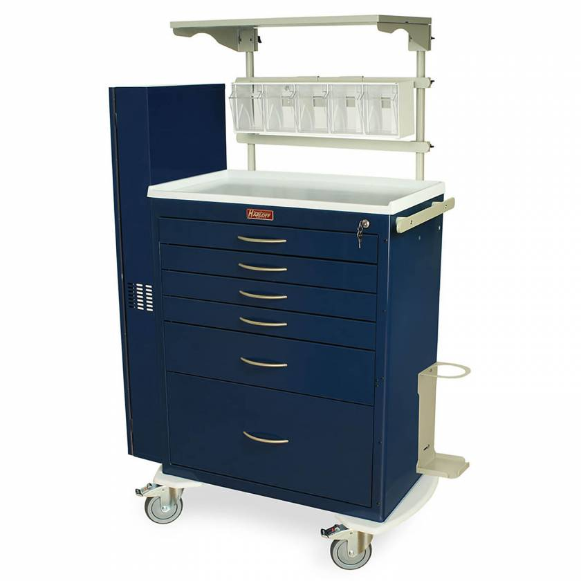 Harloff MDS3030K16-AIRWAY M-Series Standard Width Tall Treatment Crash Cart Six Drawers with Key Lock, and Difficult Airway Package