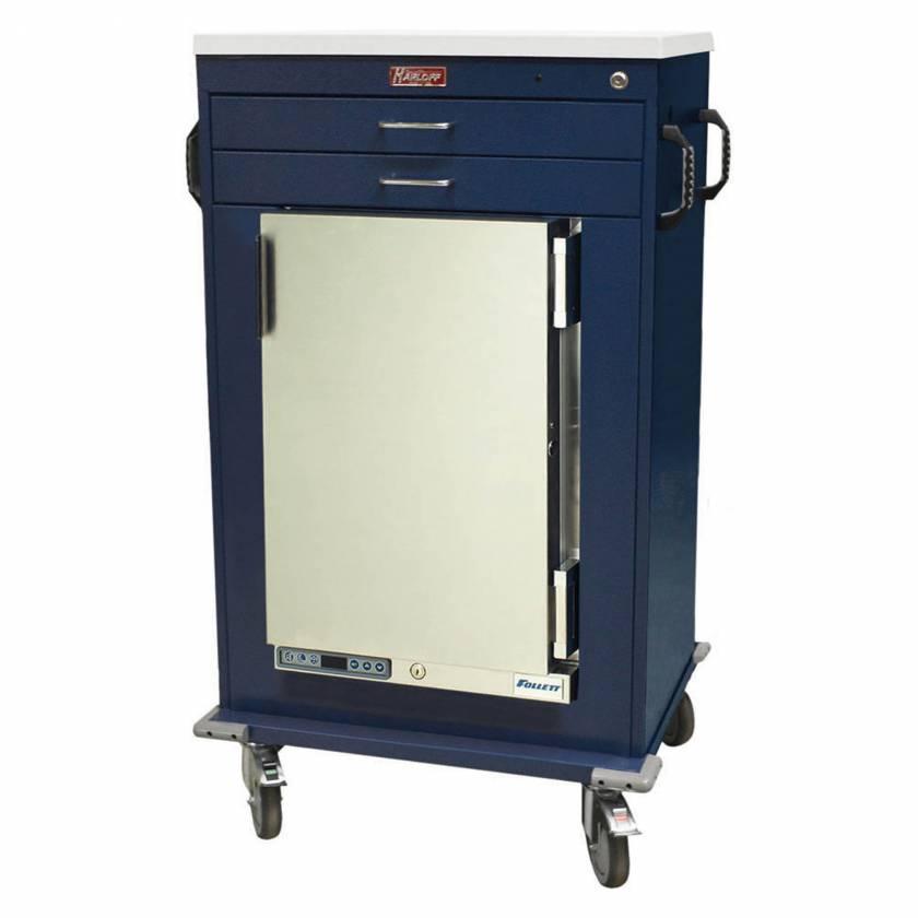 """Harloff Model MH4200K Malignant Hyperthermia Cart with 1.8 Cubic Feet Follett Refrigerator, Two 3"""" Drawers, Key Lock"""