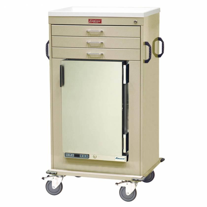 Harloff Model MH4300K Malignant Hyperthermia Cart with 1.8 Cubic Feet Follett Refrigerator, Three Drawers, Key Lock