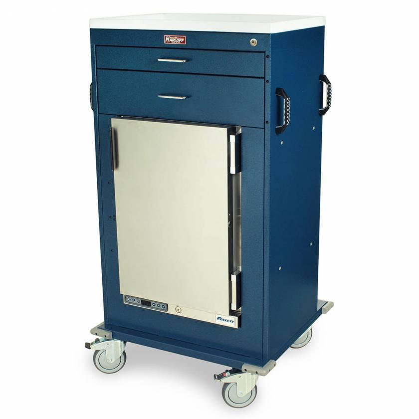 "Harloff Model MH4302K Malignant Hyperthermia Cart with 1.8 Cubic Feet Follett Refrigerator, Two Drawers (One 3"", One 6""), Key Lock"
