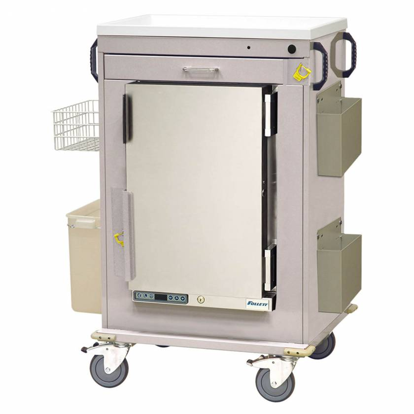 Harloff Model MH5100B Malignant Hyperthermia Cart with 1.8 Cubic Feet Follett Refrigerator, One Drawer, Breakaway Lock & Accessories