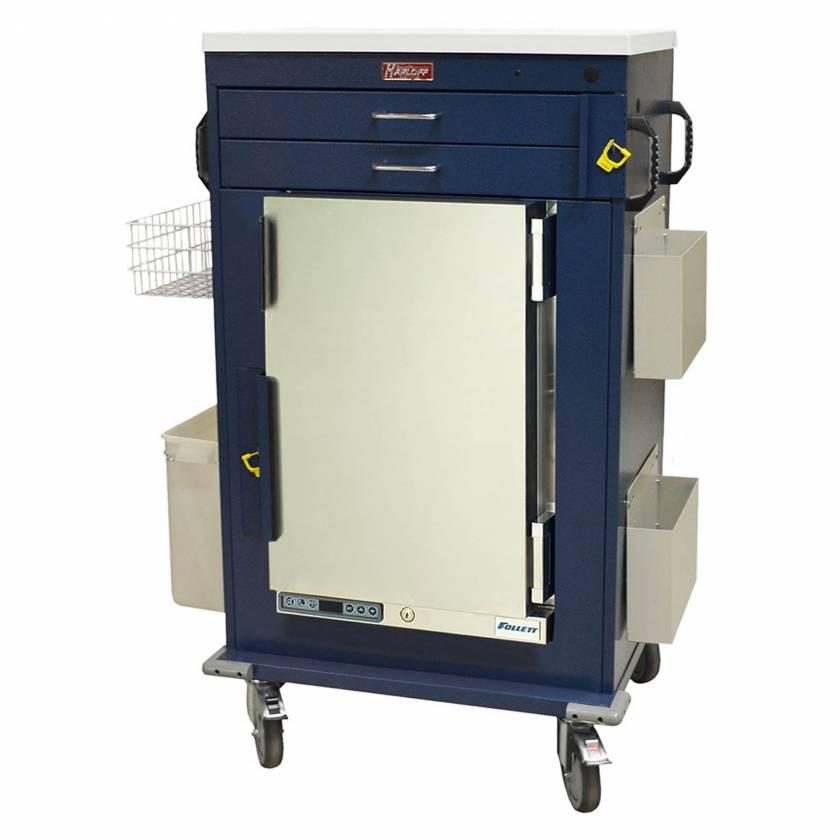 Harloff Model MH5200B Malignant Hyperthermia Cart with 1.8 Cubic Feet Follett Refrigerator, Two Drawers, Breakaway Lock & Accessories