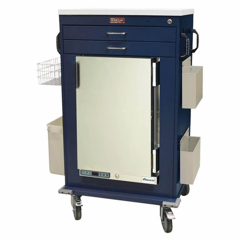 Harloff Model MH5200K Malignant Hyperthermia Cart with 1.8 Cubic Feet Follett Refrigerator, Two Drawers, Key Lock & Accessories
