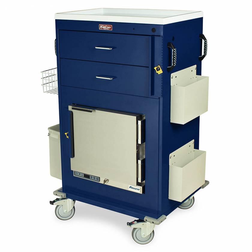 Harloff Model MH5216B Malignant Hyperthermia Cart with 1.0 Cubic Feet Follett Refrigerator, Two Drawers, Breakaway Lock & Accessories