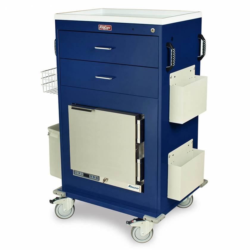 Harloff Model MH5216K Malignant Hyperthermia Cart with 1.0 Cubic Feet Follett Refrigerator, Two Drawers, Key Lock & Accessories