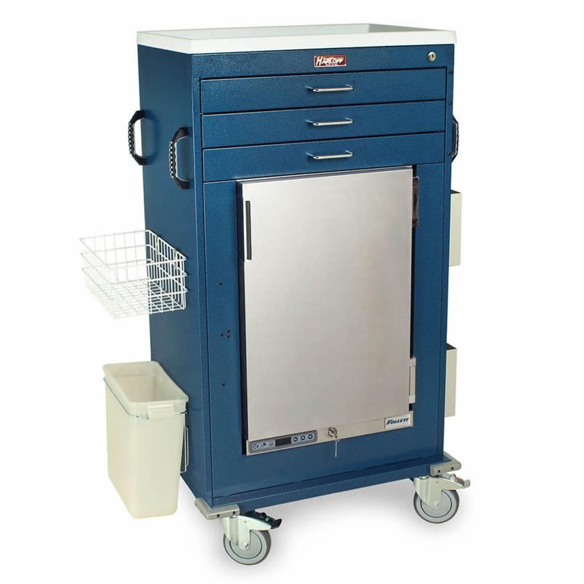 Harloff Model MH5300K Malignant Hyperthermia Cart with 1.8 Cubic Feet Follett Refrigerator, Three Drawers, Key Lock & Accessories