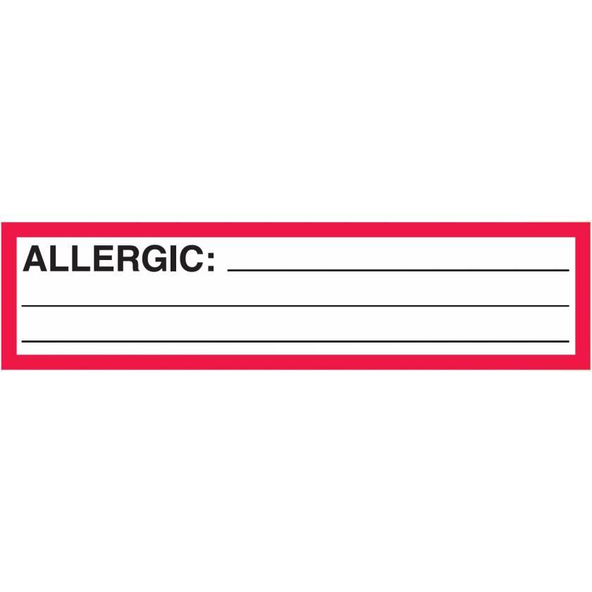 "ALLERGIC Label - Size 5 1/2""W x 1 3/8""H"
