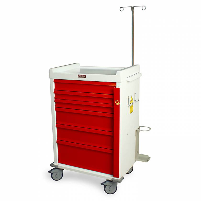 MR-Conditional Emergency Cart Six Drawer with Breakaway Lock & Specialty Package