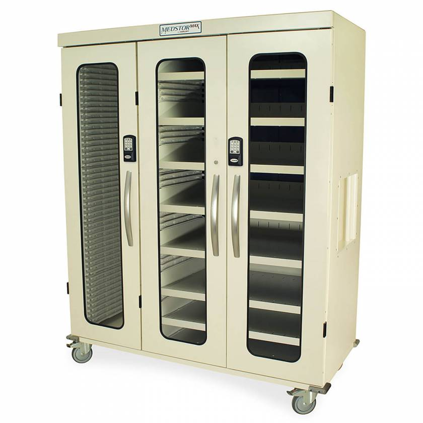Harloff MSPM83-L0GEK Medstor Max Triple Column Medical Storage Cabinet with Double Wide Open Right Column, Glass Doors, Electronic Keypad Lock (PLEASE NOTE, shelves are NOT included)