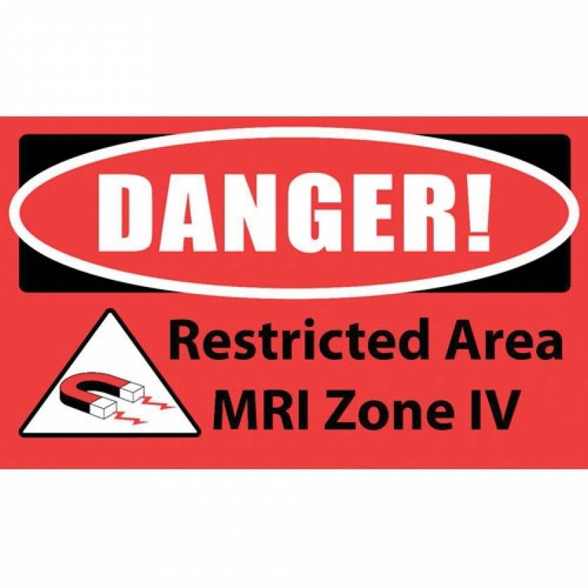 """DANGER! Restricted Area MRI Zone IV"" MRI Non-Magnetic Carpet Sign"