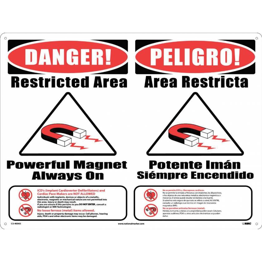 "MRI Safe Plastic Warning Sign ""Items Not Allowed"" - Combination #1 - English/Spanish"