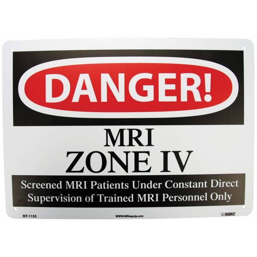 """DANGER MRI Zone IV"" Plastic Sign"