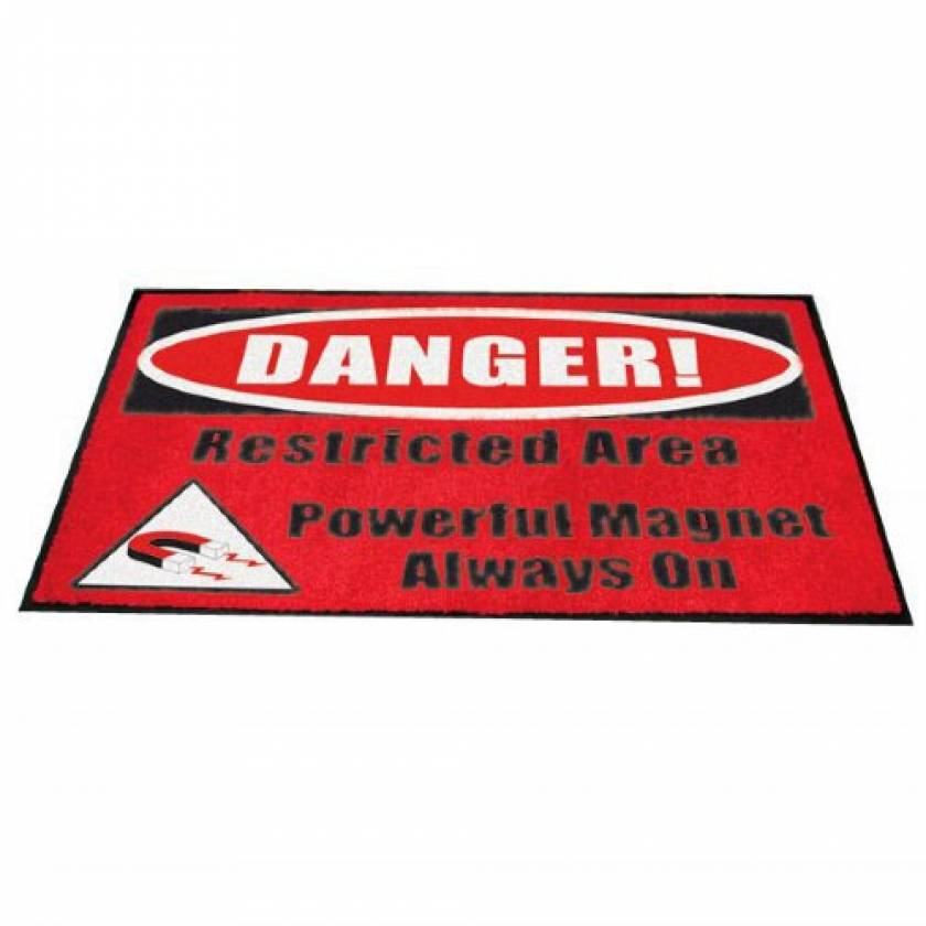 """""""DANGER! Restricted Area Powerful Magnet Always On"""" MRI Non-Magnetic Carpeted Floor Mat"""