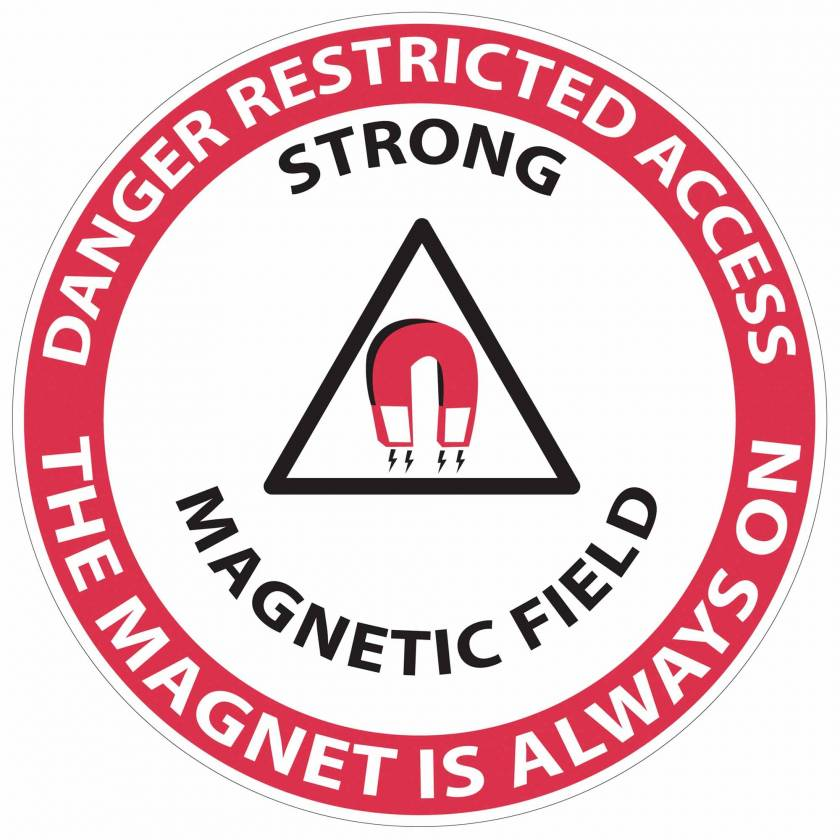 """""""Danger Restricted Access Strong Magnetic Field"""" MRI Non-Magnetic Slip-Guard Floor Sticker"""