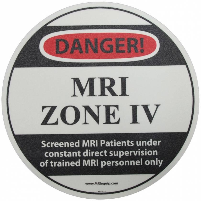 """DANGER! MRI Zone IV"" MRI Non-Magnetic Slip-Guard Floor Sticker"