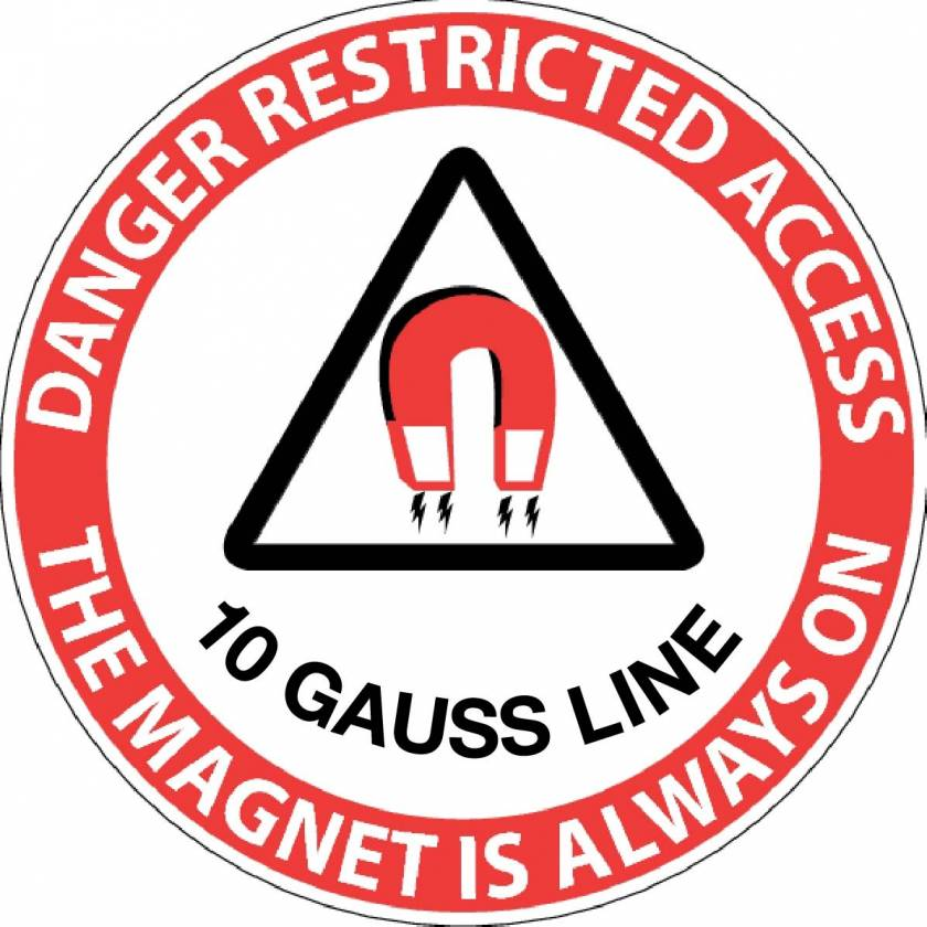 """Danger Restricted Access 10 Gauss Line"" MRI Non-Magnetic Sticker"