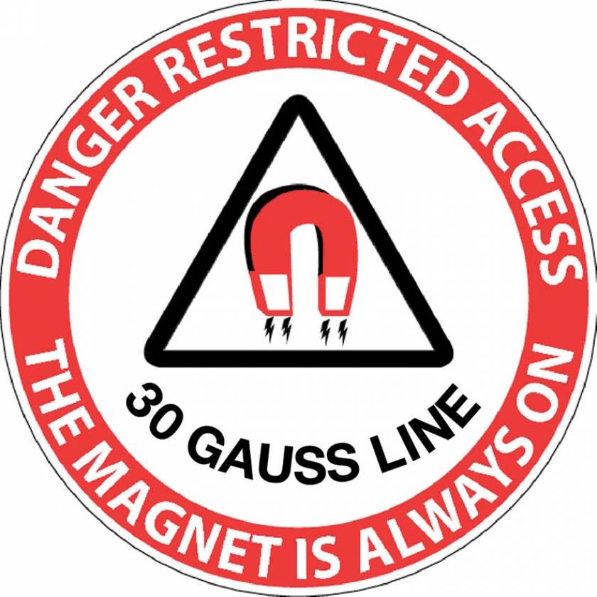 """Danger Restricted Access 30 Gauss Line"" MRI Non-Magnetic Sticker"