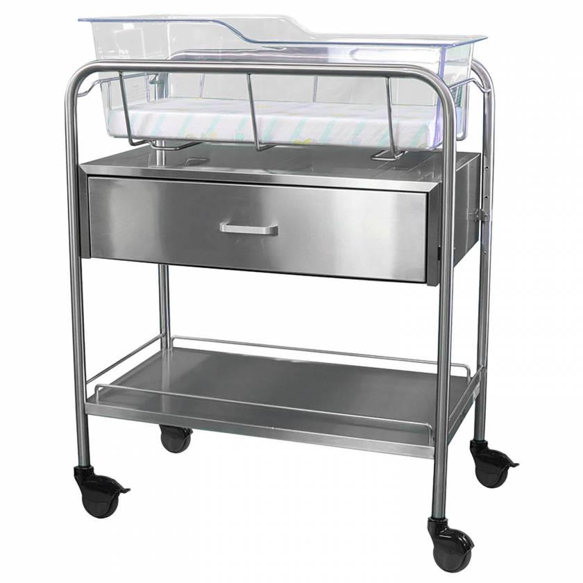 Stainless Steel Hospital Bassinet Carrier With Drawer & Bottom Shelf