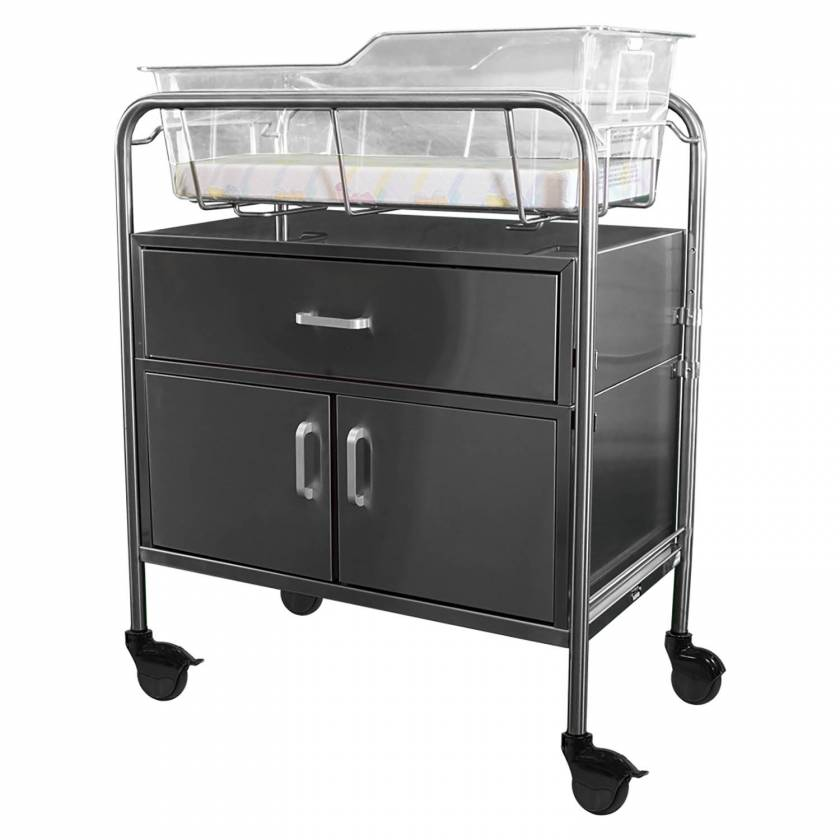Stainless Steel Hospital Bassinet Carrier with Drawer & Closed Cabinet
