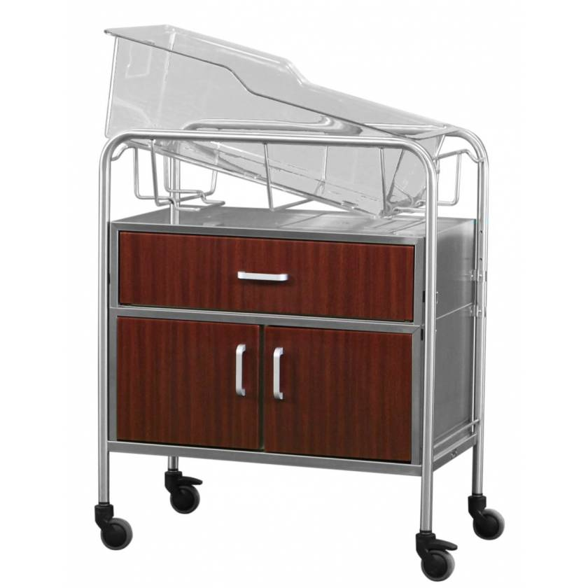Stainless Steel Bassinet with Wood Front Drawer & Closed Cabinet