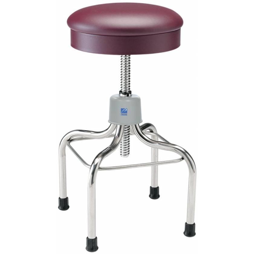 Pedigo Adjustable Stainless Steel Stool with Round Cushioned Seat