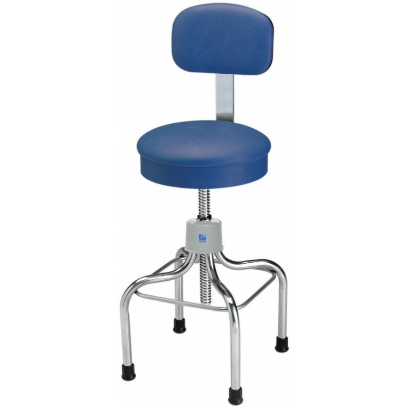 Pedigo Adjustable Stainless Steel Stool with Round Cushioned Seat & Backrest